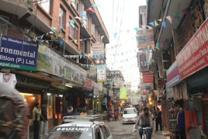 this is thamel, the busiest marketplace in Katmandu.